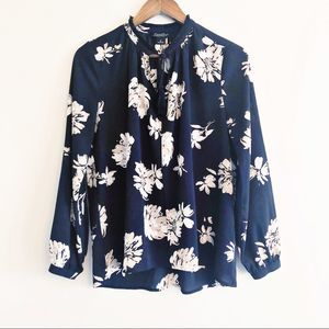 Lucky Brand | floral sheer blouse black small